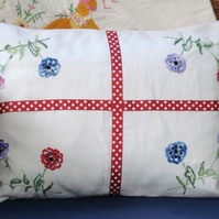 Vintage Embroidered Hand Made Cushion - Flowers & Dotty Ribbon