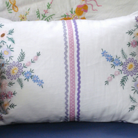 Vintage Embroidered Hand Made Cushion - Lilac & Pink Flowers