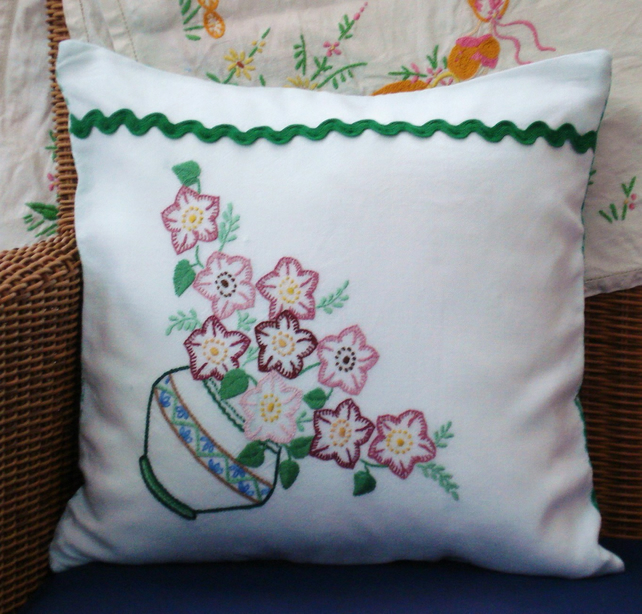 Vintage Embroidered Hand Made Cushion Green Flower Vase