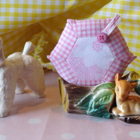 Gingham Patchwork Pin or Brooch Cushion - Pale Pink Retro