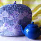 Vintage Flowery Gingham Purple Tea Cosy