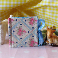 Needle Case - Blue Gingham and Blue & Pink Roses & Hearts