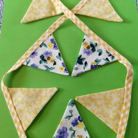 Mini Bunting - Yellow Gingham & Laura Ashley Yellow and Blue Floral