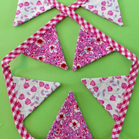 Mini Bunting - Pink Gingham & Pink & Yellow Floral