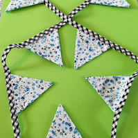 Mini Bunting - Black Gingham & Turquoise Ditsy Floral