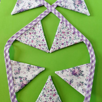 Mini Bunting - Lilac Gingham & Lilac Ditsy Roses