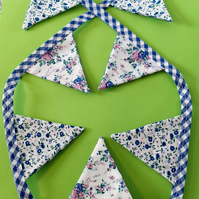 Mini Bunting -Blue Gingham & Blue Ditsy Roses