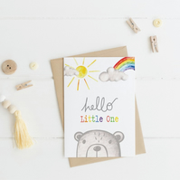 Hello Little One Bear - New Baby Card