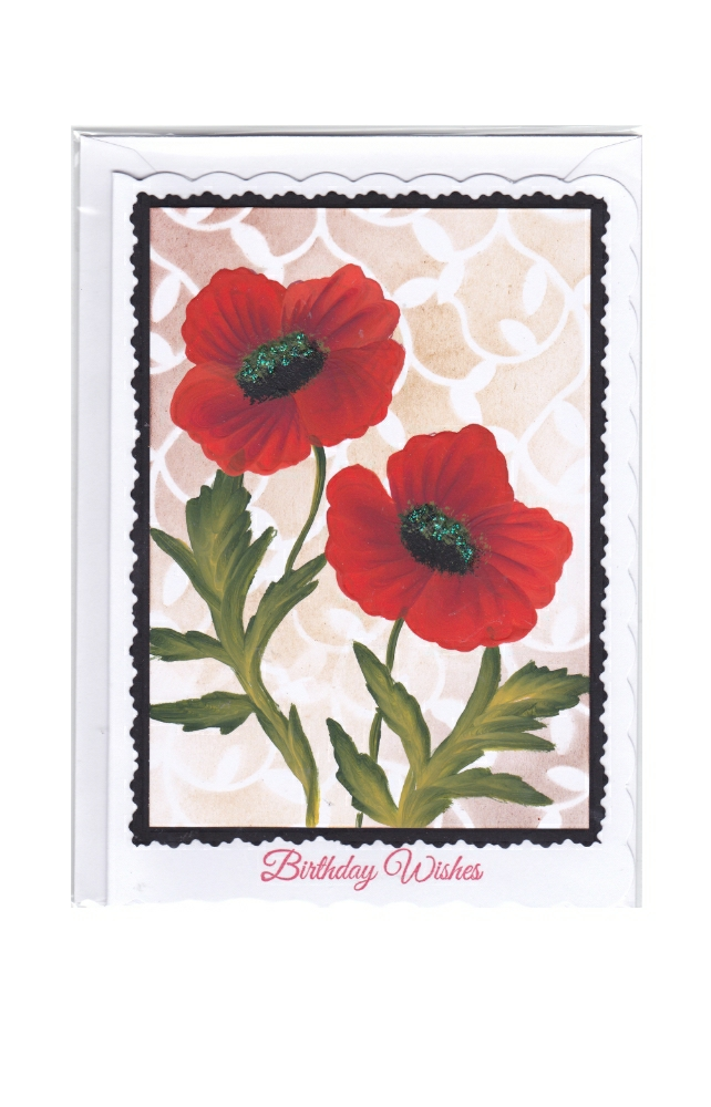 Hand painted Poppy birthday card
