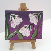 Mini easel canvas Snowdrops - acrylic original