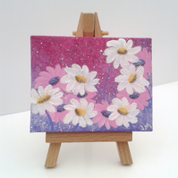 Mini easel canvas pink Daisies - acrylic original