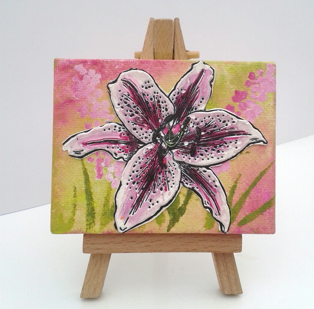 Mini easel canvas lilly