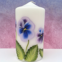 Hand painted Pansy candle