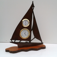 Wooden Yacht clock, thermometer and hygrometer