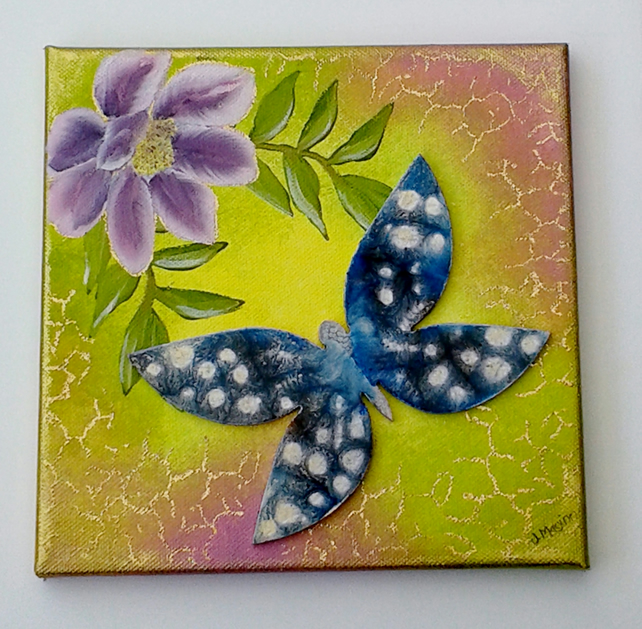 Mixed media canvas purple flower and  blue butterfly