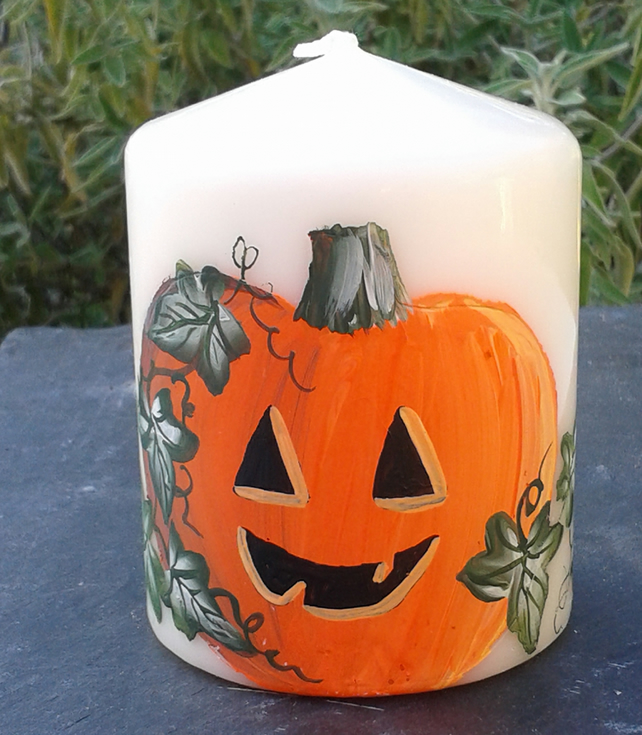 Hand painted Halloween pumpkin small pillar candle