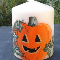 Hand painted Halloween pumpkin candle
