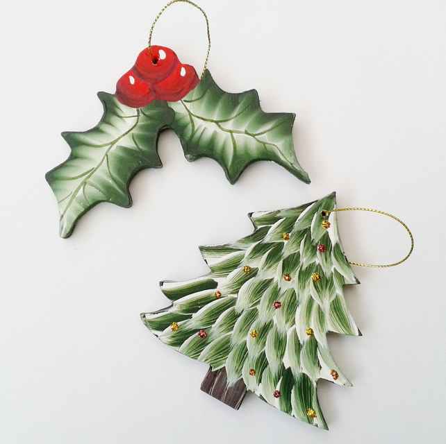 Hanging christmas tree and holly handmade decorations