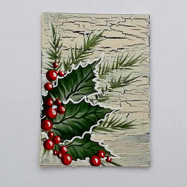 ACEO acrylic painting holly 005