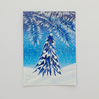 ACEO acrylic painting blue christmas tree 008