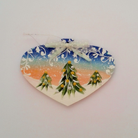 Hand painted wooden heart christmas decoration