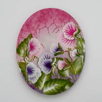 Wall hanging oval sweet pea painting