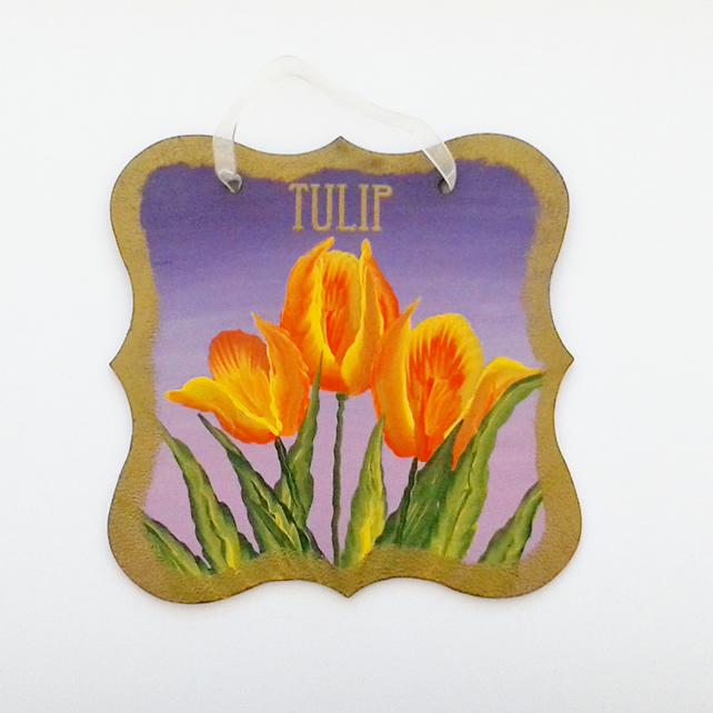 Hand painted tulip wall hanging