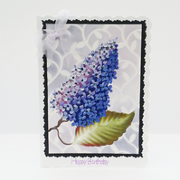 Hand painted Lilac bloom birthday card