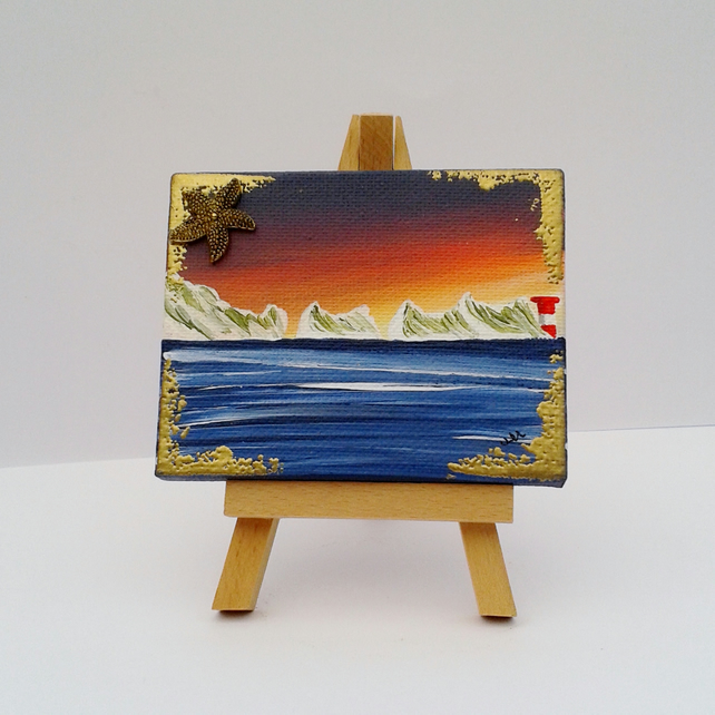 Mini easel canvas sunset Needles - acrylic original