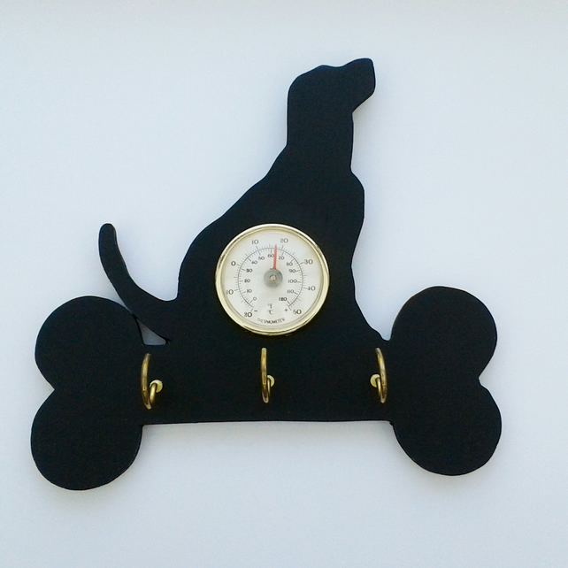Silhouette labradore key or lead hanger with thermometer
