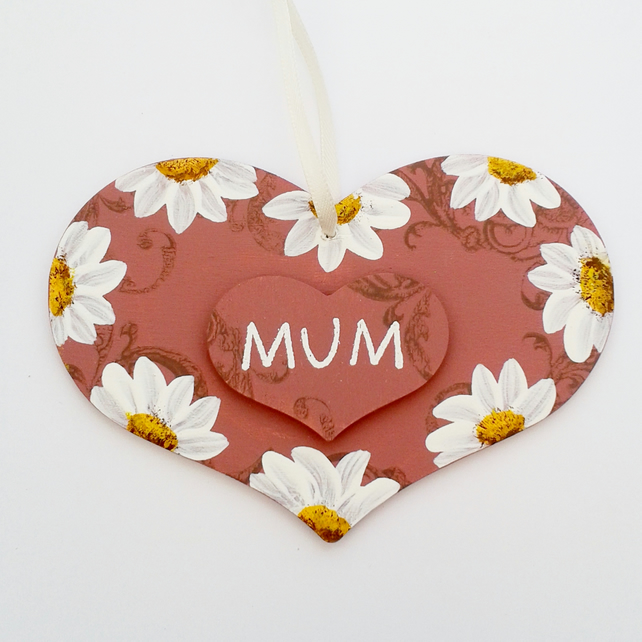 Mum - Daisy heart plaque