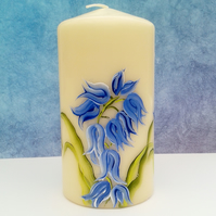 Hand painted Bluebell pillar candle