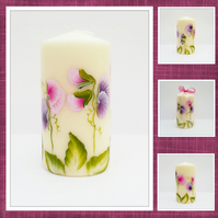 Hand painted Sweet pea candle