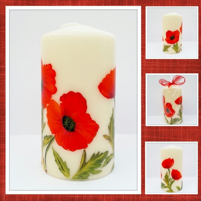 Candle - Poppy pillar candle