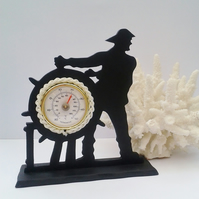 Silhouette thermometer - Nautical sailor and ships wheel