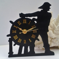 Nautical wall hanging sailor and ships wheel clock