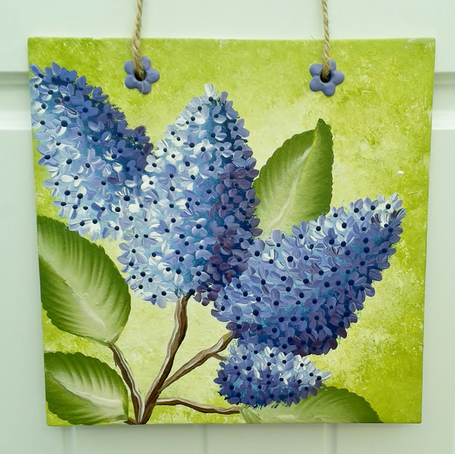 Hand painted lilac blossom wall hanging