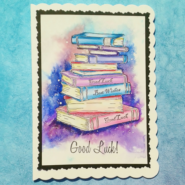 Good luck card stamped and watercolour painted
