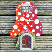 Toadstool clock red with clay moulded fairy door & window hand painted.