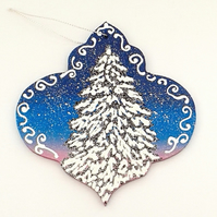 Hand painted wooden bauble christmas decoration
