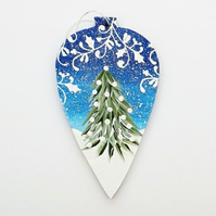 Hand painted wooden heart bauble christmas decoration