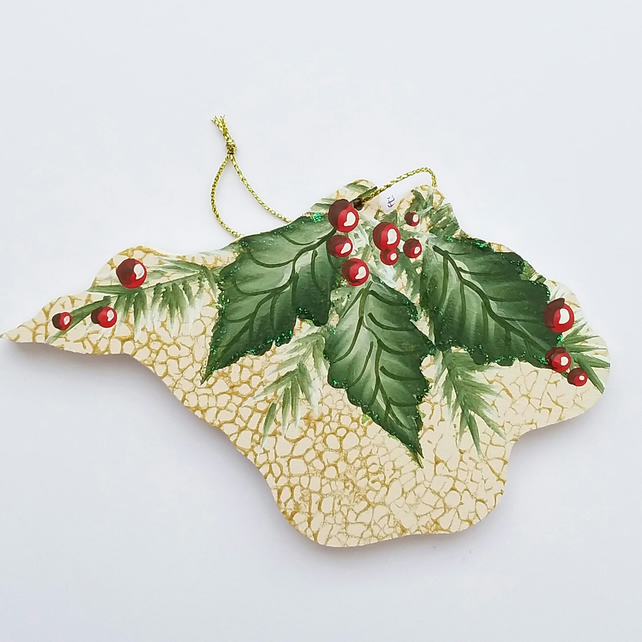Hand painted Isle of Wight Christmas decoration holly