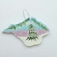 Hand painted Isle of Wight Christmas  decoration pastel