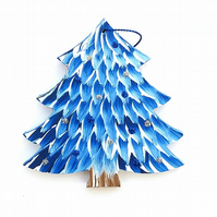 Hand painted hanging dark blue christmas tree decoration