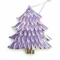 Hand painted hanging purple christmas tree decoration