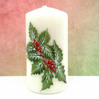 Hand painted Holly pillar candle