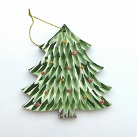 Hand painted hanging green christmas tree decoration
