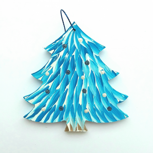 Hand painted hanging light blue christmas tree decoration