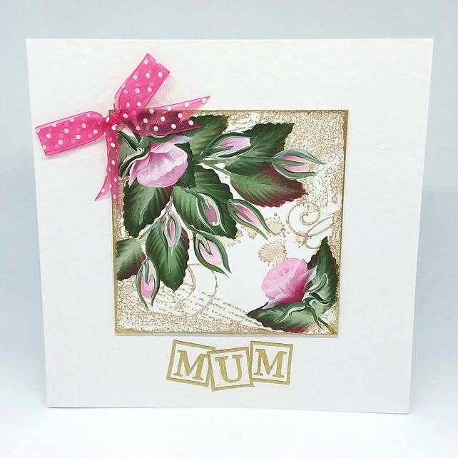 Mother's day hand painted  pink rose bud card.