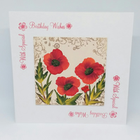 Poppy hand painted birthday card.